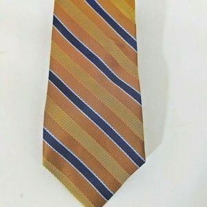 BROOKS BROTHERS Gold Bronze Blue Stripe Tie NEW
